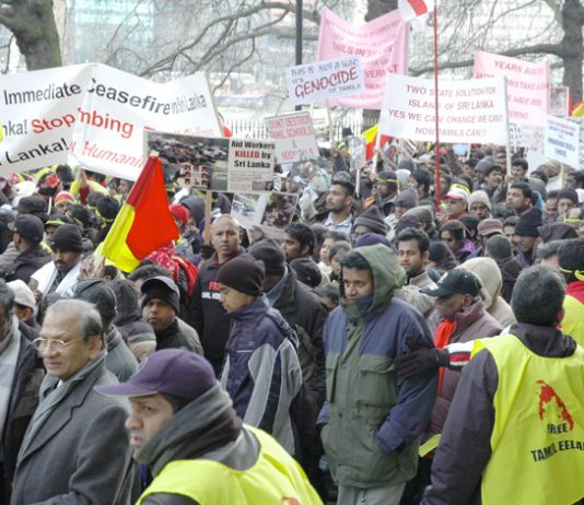 A section of the 125,000-strong demonstration in London on January 31st against the genocidal Sri Lankan Army attacks on the Tamil population