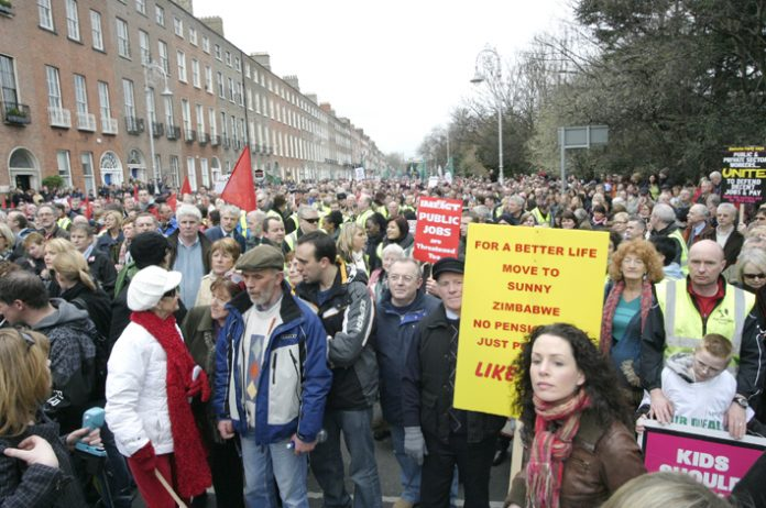 A section of the 125,000-strong demonstration in Dublin on February 21st against job losses and wage cuts