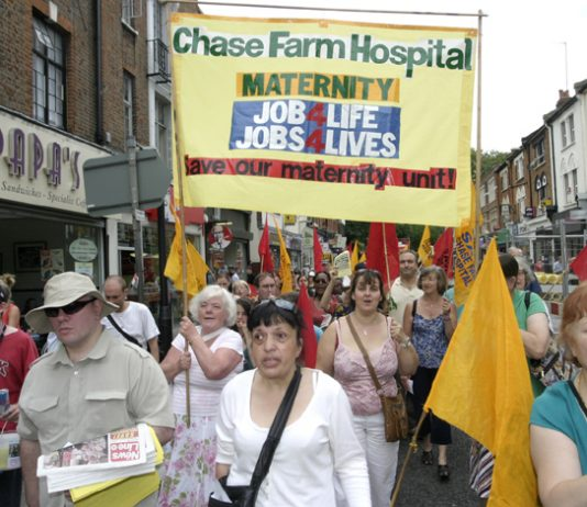 Maternity unit workers on last July's North East London Council of Action demonstration against the closure of Chase Farm Hospital