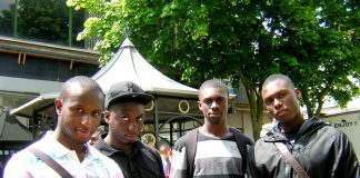 Jason, James, Kofi, and Mitchell, all students at Bedfordshire University,  Luton.
