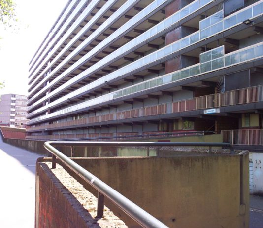 One of the large blocks of flats on the Heygate estate in Southwark where hundreds of council homes are to be demolished