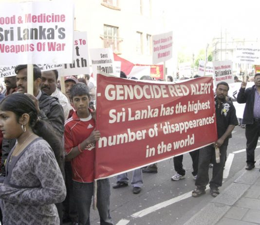 Tamil marchers in London on May Day condemn the atrocities of the Sri Lankan regime
