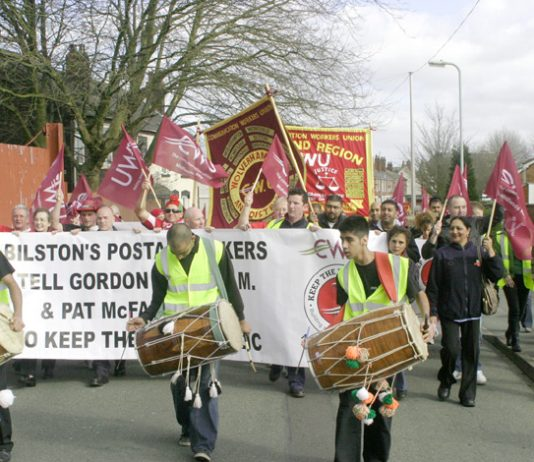 Postal workers in the front line of the strike against Brown's privatisation policies – they are determined to defend the Royal Mail