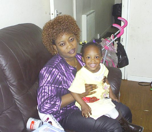 Heygate tenant EVELYN AMAHIAN with her two-year-old daughter