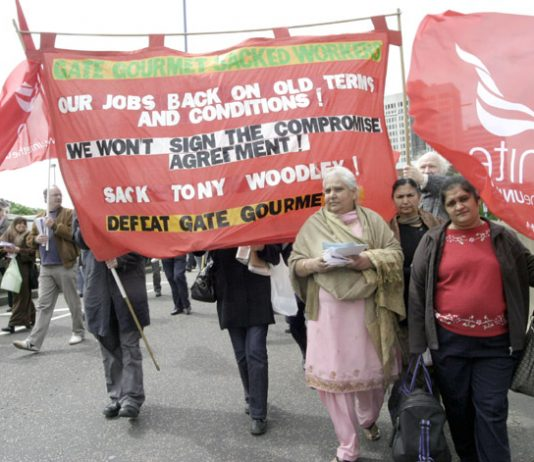 Sacked Gate Gourmet workers on the Unite March for Jobs last month where Unite leaders joined forces with ex-CBI boss Digby Jones