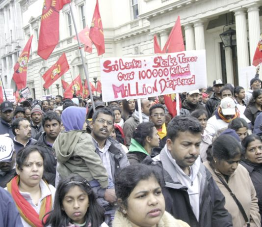 Section of the 125,000-strong demonstration in London on April 11 against the Sri Lankan Army atrocities against the Tamil people