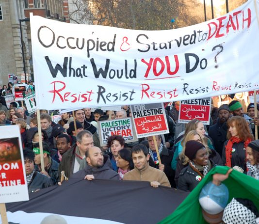 London marchers on January 3rd express their support for Palestinians besieged in Gaza
