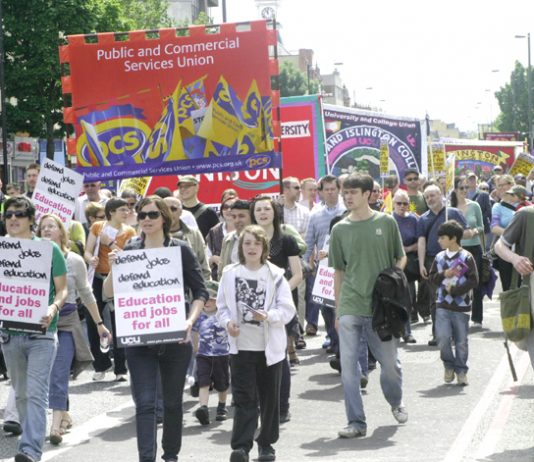 London Met lecturers and students marching on 23 May against the savage cuts being imposed on the university