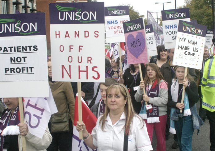 UNISON members campaigning to defend the NHS against a government bent on privatising it