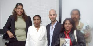HENGRIDE PERMAL, chair of the Chagos Islands Community Association (left) with fellow Chagossians and author DAVID VINE (centre) at the book launch in Crawley last Friday night