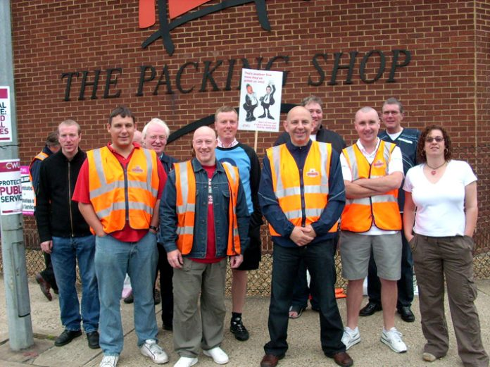 Postal workers on the picket line at Nine Elms mail centre during the 2007 pay strike