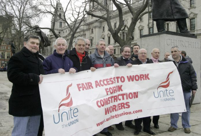Engineers and construction workers demonstrated in Parliament Square during the February dispute in the industry
