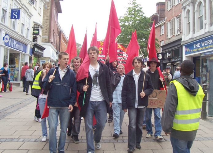 Young Socialists marching in Norwich last Saturday against unemployment and cheap labour