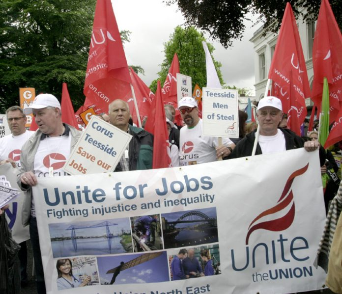 Corus workers in the front of the 'Unite for Jobs' march in Birmingham on May 16