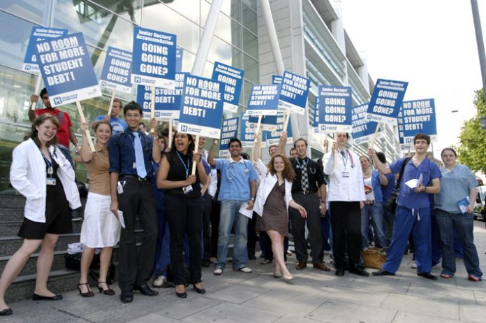 Medical students demonstrating in June last year against the loss of accommodation allowance for first year junior doctors