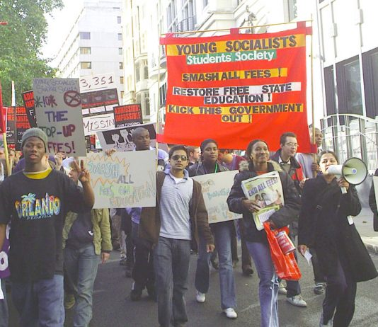Young Socialists Student Society marching against all fees and demanding the restoration of free education