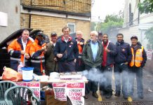 A strong happy and well-fed picket line at Stoke Newington Delivery Office insisted that their union was not going to be run by judges