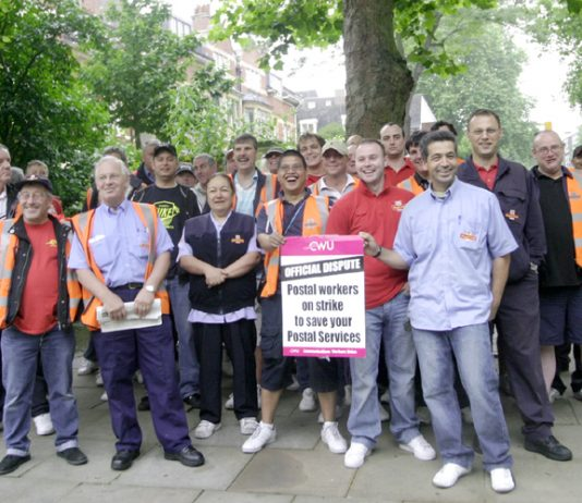CWU pickets last Wednesday  at Hampstead Delivery Office determined to defend the postal service
