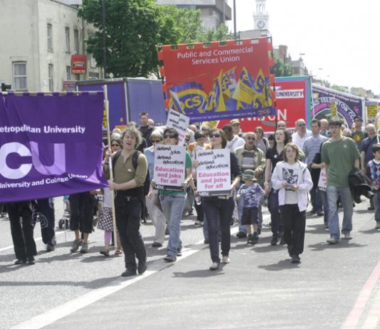 Marching to defend jobs at the London Metropolitan University on May 23 2009