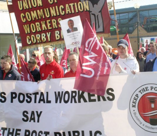 CWU members demonstrate in Corby last March against privatisation
