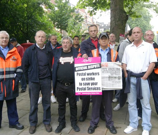 'Struggle is strengthening' said CWU pickets at Hampstead Delivery Office