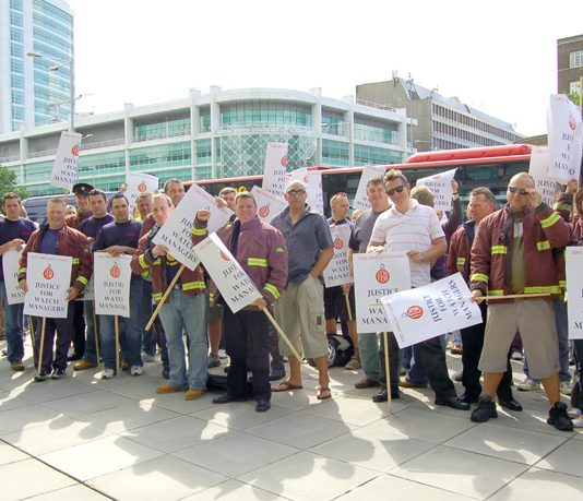 London firefighters 'Justice for watch managers' lobby of the fire authority in July last year