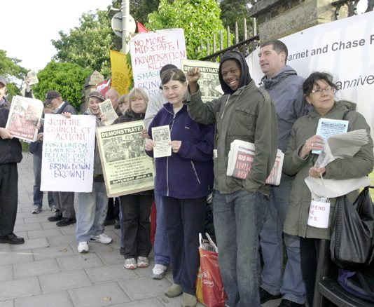 Enthusiastic North East London Council of Action pickets determined to keep Chase Farm Hospital open