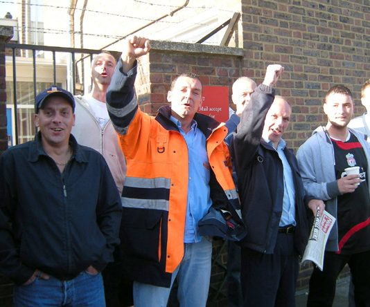 Enthusiastic strikers on the picket line at Brockley SE4 Delivery Office