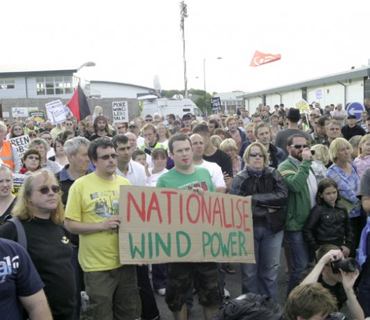 A section of the mass rally on the Isle of Wight supporting the Vestas occupation demand to nationalise the factory to keep it open