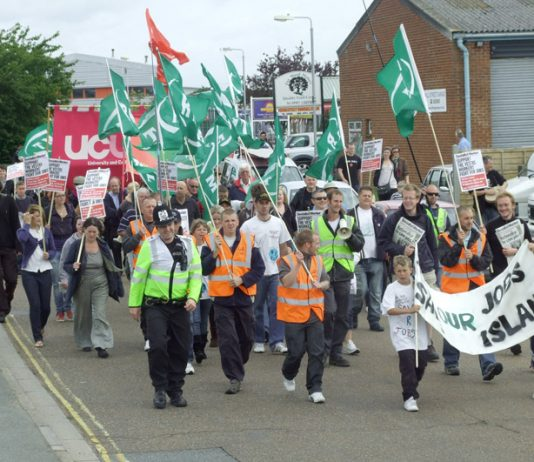 Demonstrators – Vestas workers and supporters marching to the Magistrates Court in Newport yesterday morning