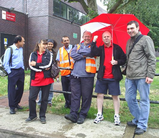 CWU pickets at Nine Elms Mail Centre in South London, determined to defend jobs and conditions