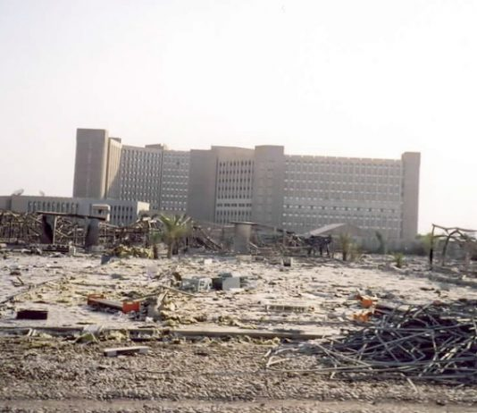 The Iraqi Ministry of Oil building was untouched by the US 'shock and awe' blitzkrieg of March 2003 when over 1,700 air strikes were launced against Iraq