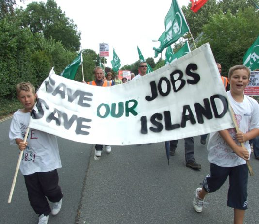 Children of Vestas workers lead the march to the Newport Magistrates Court last Wednesday