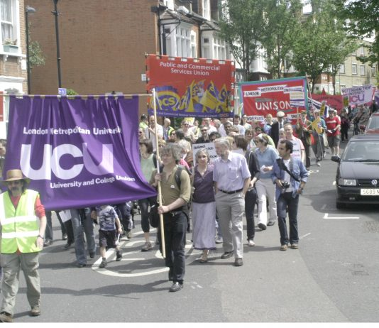 Demonstration last May supporting London Metropolitan University unions' fight against job cuts