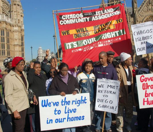 Chagos Islanders demonstrating outside the House of Lords demanding the right to return to Diego Garcia