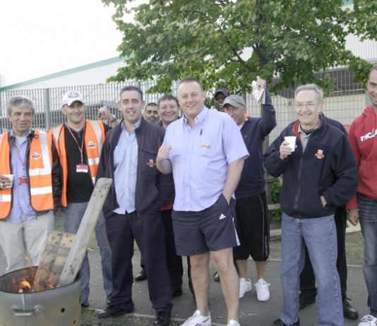 Pickets at the East London Mail Centre on July 28 – they were all in favour of national strike action