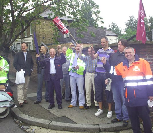 CWU pickets at Brockley Delivery Office during their strike on August 7th