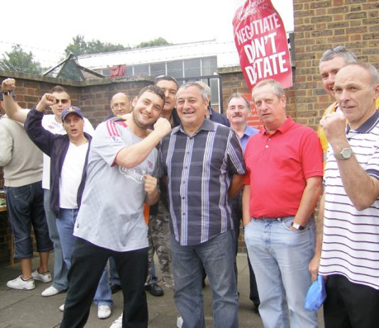 A strong and confident picket line at the Brockley Delivery Office yesterday morning