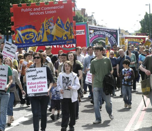 UCU members and students marching earlier this summer against massive cuts at London Metropolitan University in North London. The University its tuition fees next term.