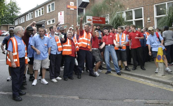 Determined CWU members in Hampstead, north-west London, during strike action in the capital, which continues today