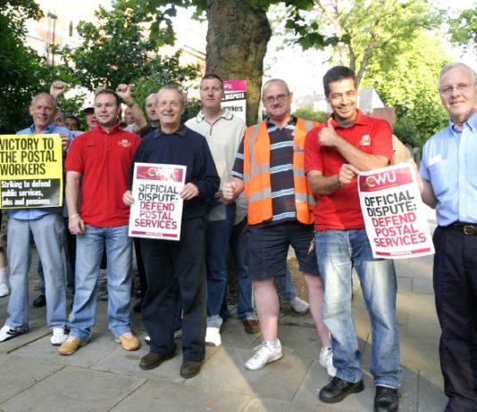 Striking CWU members in Hampstead, north west London, were in fighting mood yesterday