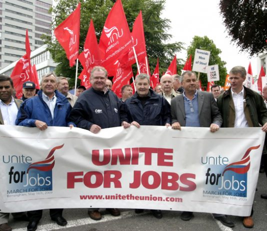 Unite leaders Woodley and Simpson alongside TUC General Secretary Barber marching with former CBI boss Digby Jones. The union leaders prefer to collaborate with the bosses and oppose occupations and nationalisation