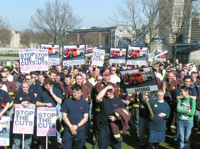 London firefighters lobbying against cuts. They are now taking action against attacks on their working conditions