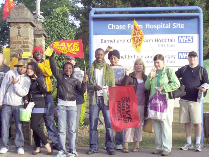 A section of the lively North East London Council of Action picket of Chase Farm Hospital yesterday morning