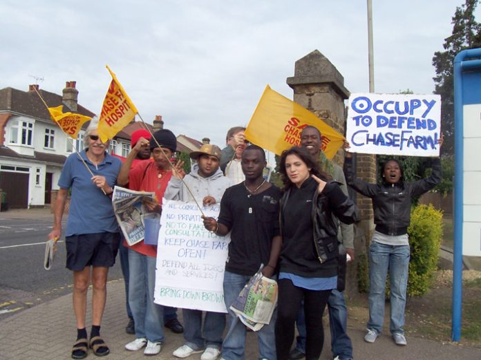 'Occupy Chase Farm' to stop its closure – the demand of the Council of Action on their placards