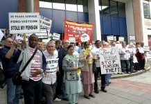 Sacked Visteon workers, retirees, and a delegation of sacked Gate Gourmet workers lobbying Unite head office yesterday