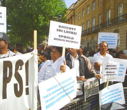 Demonstration outside Downing Street on August 28 against the treatment of Tamils in the internment camps in Sri Lanka