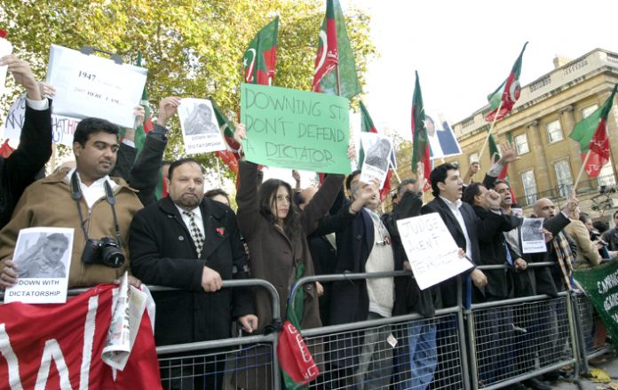Protest at Downing Street against the Labour Government's support for Pakistan's former dictator Musharraf