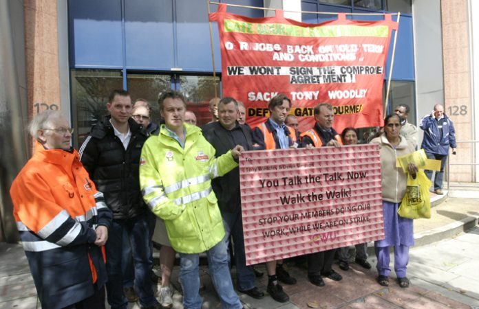 Striking postal workers lobby Unite headquarters to demand leaders Woodley and Simpson stop Unite organised managers