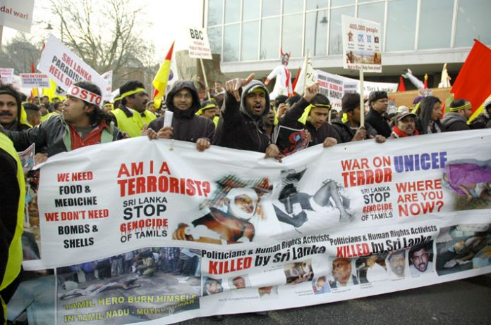 London demonstration against the Sri Lankan Army's attack on the Tamil population in Sri Lanka